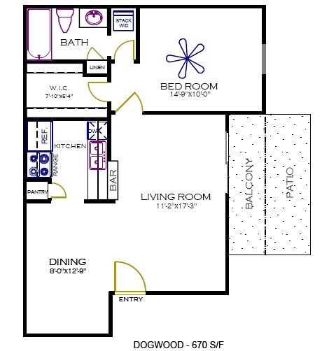 670 sq. ft. Dogwood floor plan