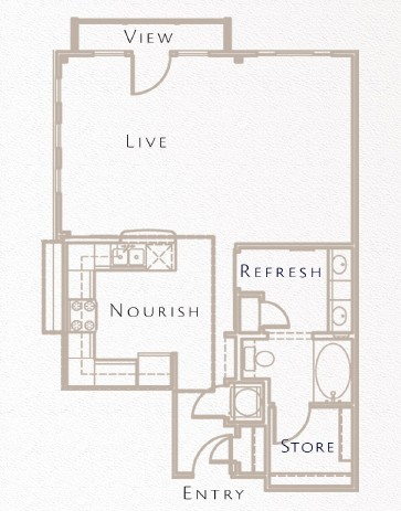 798 sq. ft. A6 floor plan