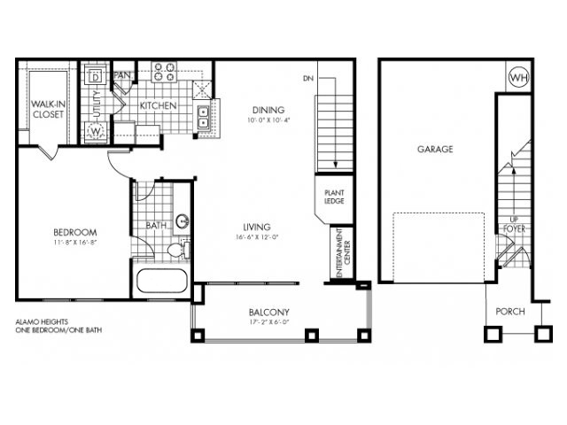 896 sq. ft. Alamo Heights floor plan
