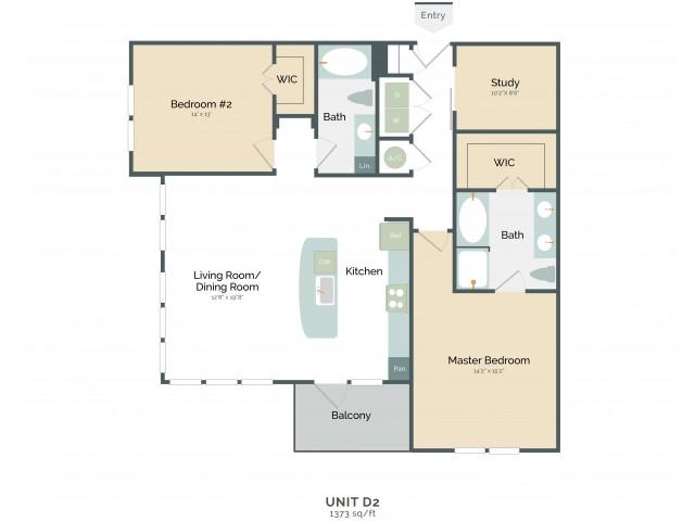 1,373 sq. ft. D2 floor plan