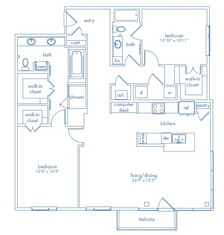 1,523 sq. ft. PICASSO TWO floor plan