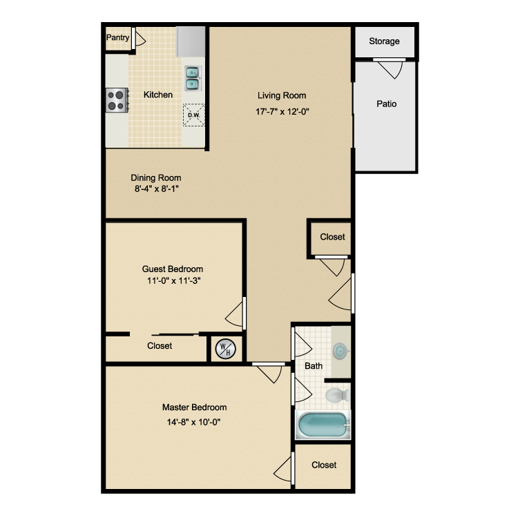 936 sq. ft. E floor plan