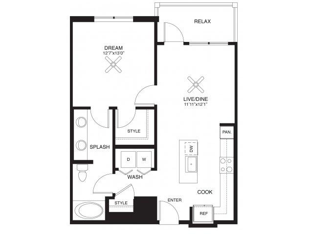 768 sq. ft. Clark floor plan