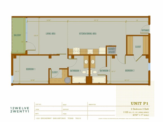 1,155 sq. ft. P1 floor plan