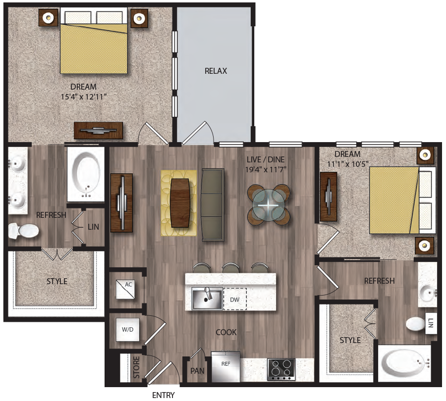 1,092 sq. ft. B5.1 floor plan