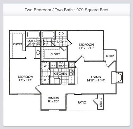 979 sq. ft. B2 floor plan