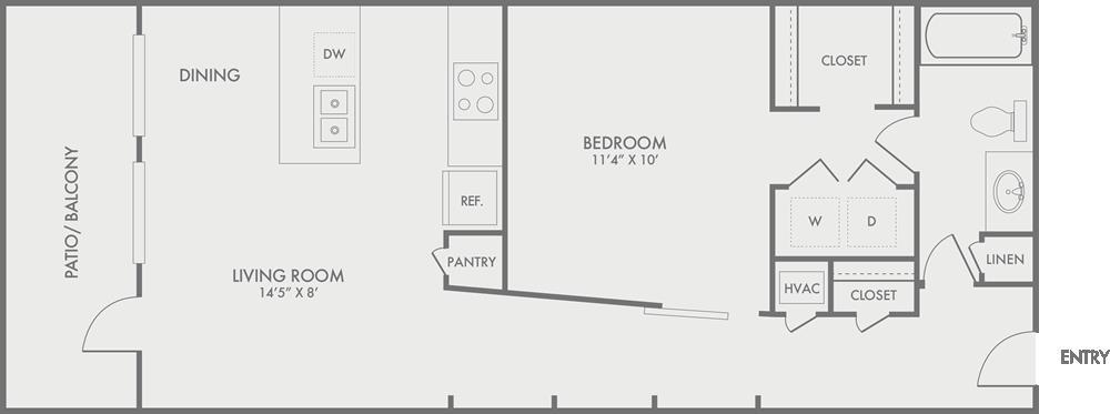 743 sq. ft. A7 floor plan