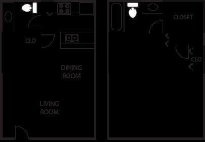 800 sq. ft. A5-50% floor plan