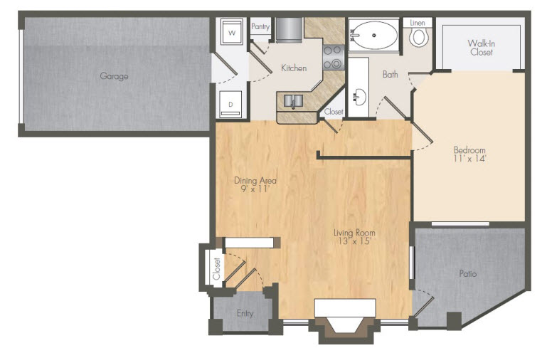852 sq. ft. A3 floor plan