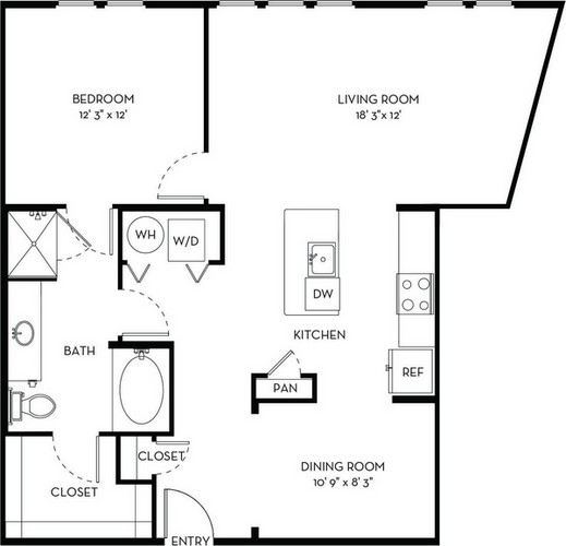 982 sq. ft. A5.3 floor plan