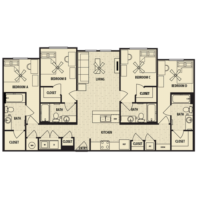 1,392 sq. ft. D1 floor plan