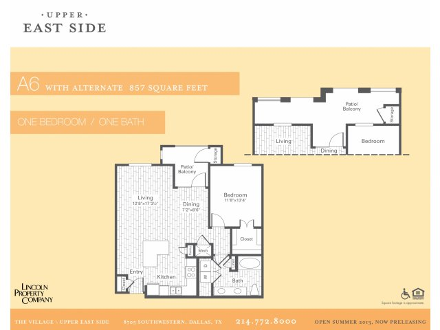857 sq. ft. A6 floor plan