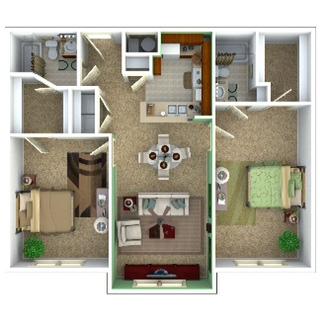 932 sq. ft. Retreat/60% floor plan