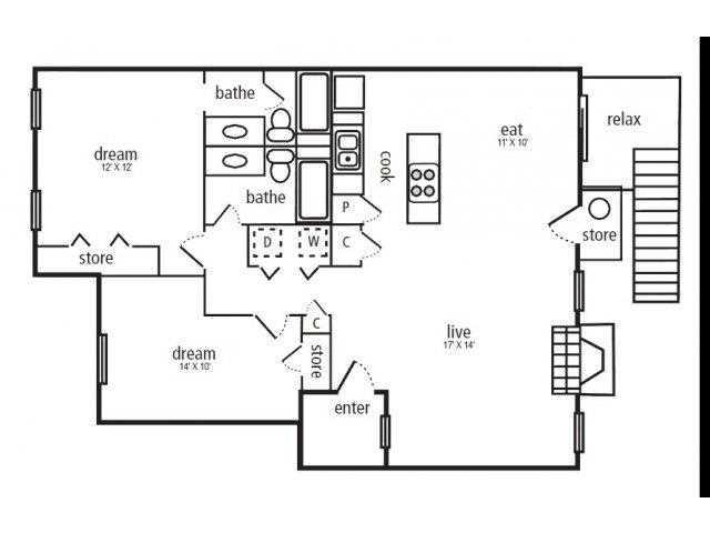 1,010 sq. ft. Bayberry floor plan