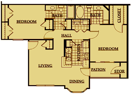 1,049 sq. ft. floor plan
