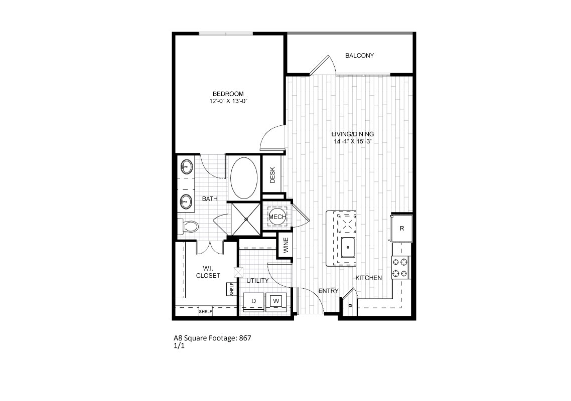 867 sq. ft. A8 floor plan