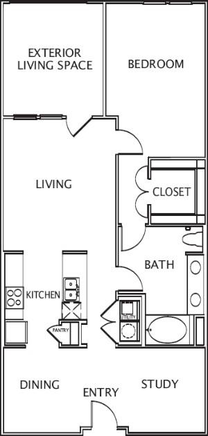 1,025 sq. ft. to 1,125 sq. ft. Delfina floor plan