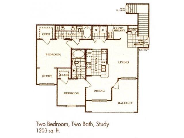 1,203 sq. ft. B6 floor plan