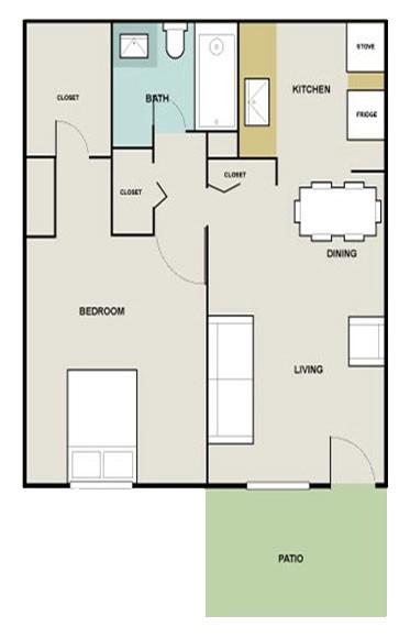 630 sq. ft. Wild Rye floor plan