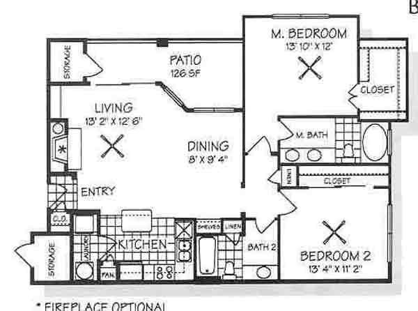 1,163 sq. ft. B3 floor plan