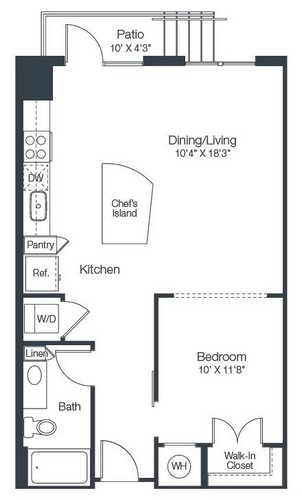 732 sq. ft. A1C floor plan