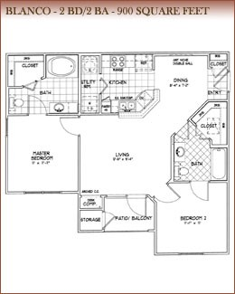 900 sq. ft. Blanco floor plan