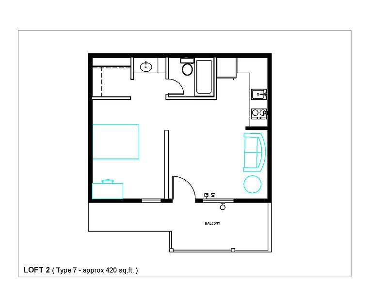 490 sq. ft. Type 7 floor plan
