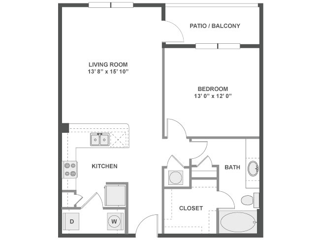 795 sq. ft. Porto floor plan
