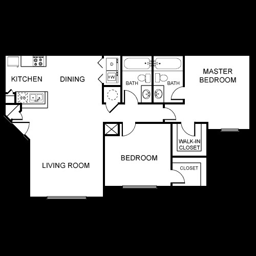 968 sq. ft. B3/60% floor plan