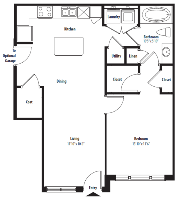772 sq. ft. A1 floor plan
