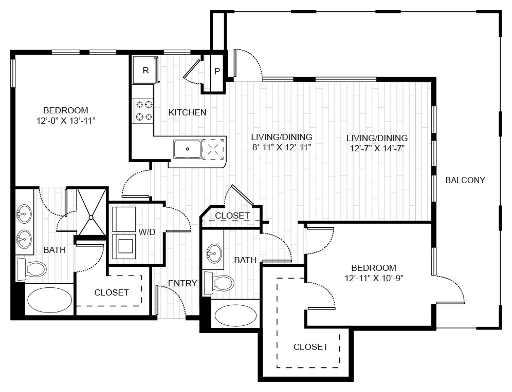 1,301 sq. ft. B3B floor plan