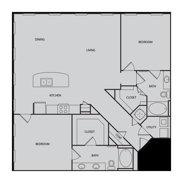 1,463 sq. ft. B4 floor plan