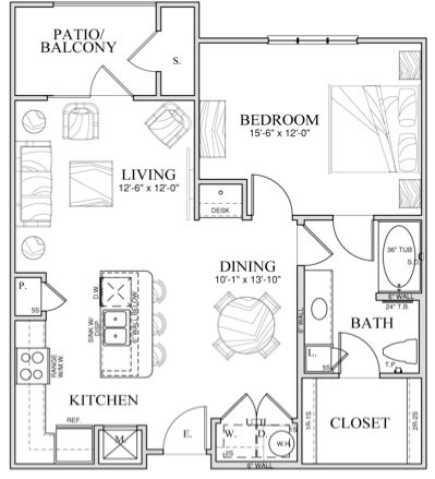 814 sq. ft. A5 floor plan
