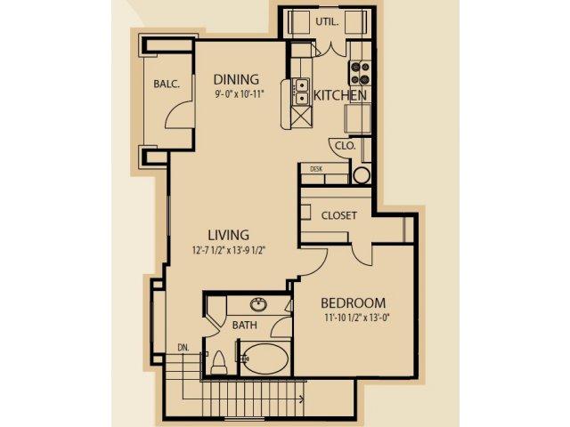 874 sq. ft. A6 floor plan