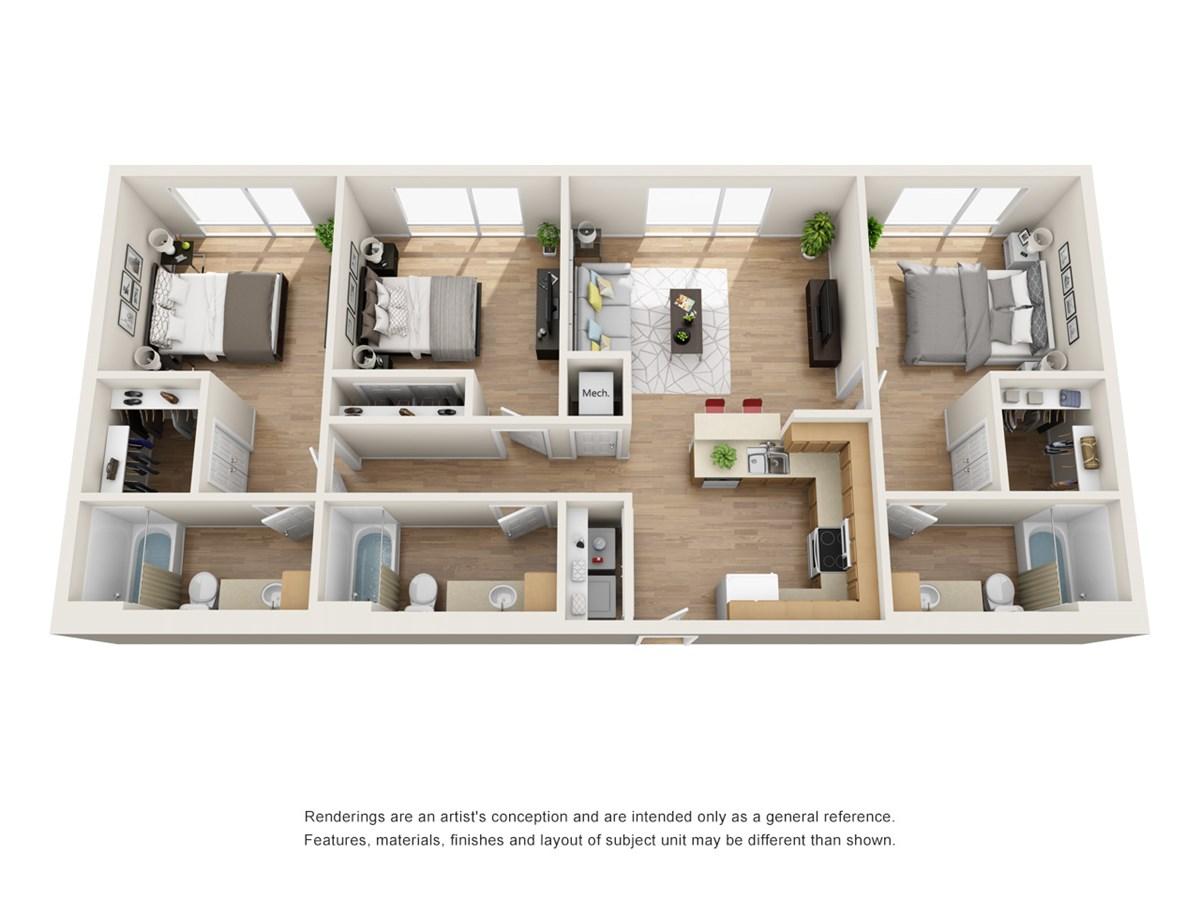 1,274 sq. ft. C1 floor plan