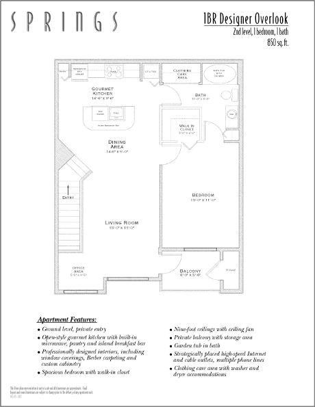 850 sq. ft. Designer Over floor plan