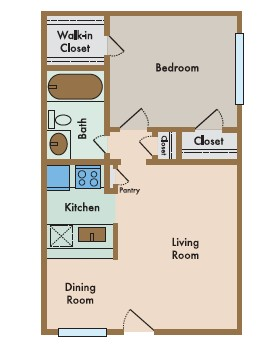 528 sq. ft. Bella floor plan