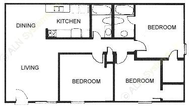 1,057 sq. ft. C1 floor plan