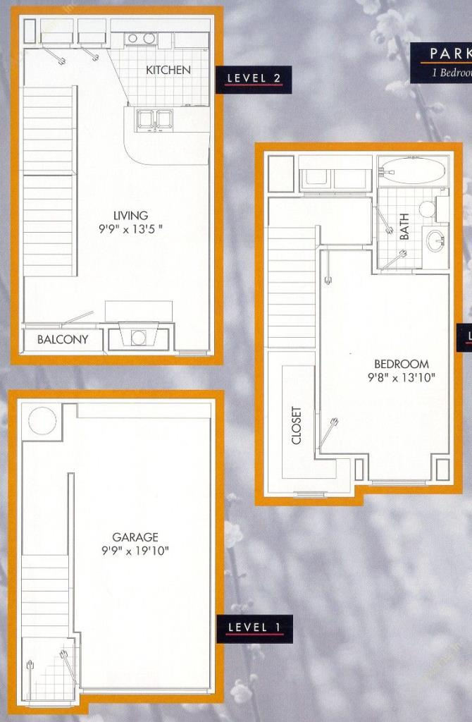701 sq. ft. Parkside A1TH floor plan
