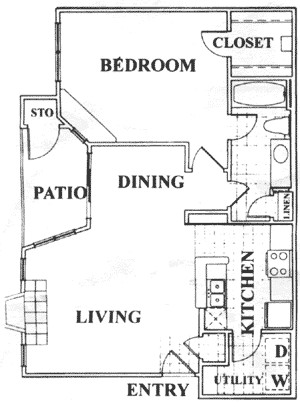 772 sq. ft. C floor plan