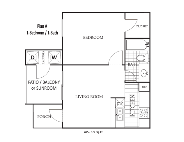 475 sq. ft. to 572 sq. ft. A floor plan