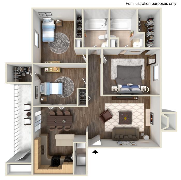 1,236 sq. ft. H floor plan
