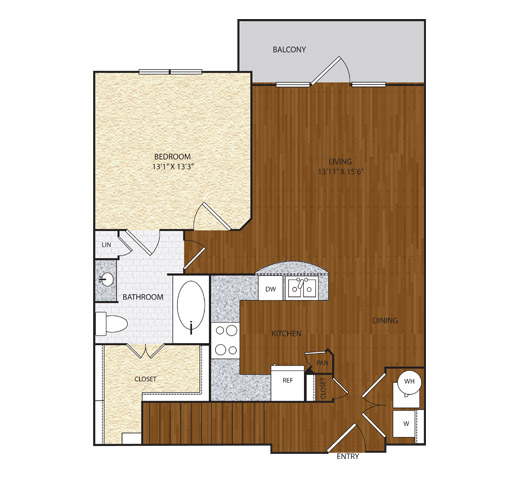 841 sq. ft. A2.1 floor plan