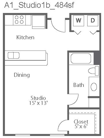 484 sq. ft. Capri/A1 floor plan