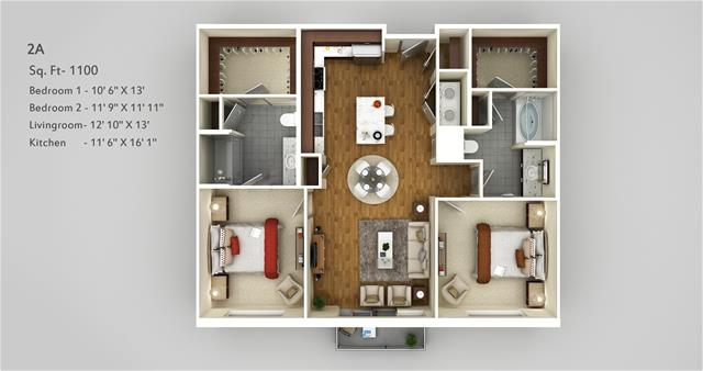 1,100 sq. ft. 2A floor plan