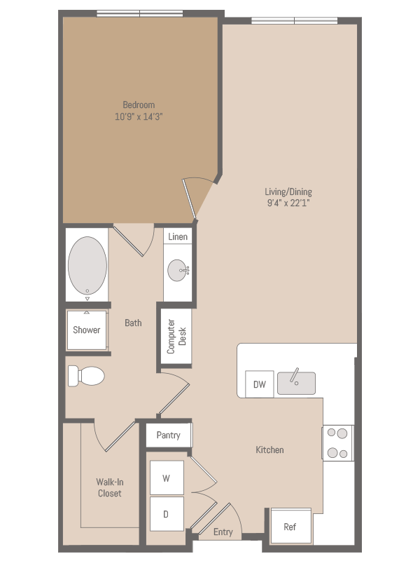 779 sq. ft. A1.2 floor plan