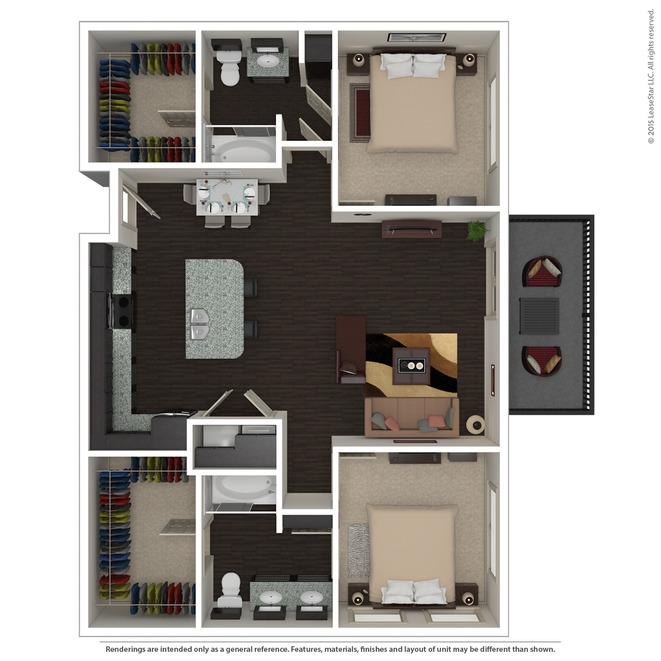 1,221 sq. ft. B5.1 floor plan