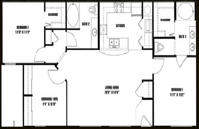 1,237 sq. ft. C1 floor plan