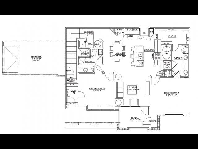 1,186 sq. ft. B3.2 floor plan