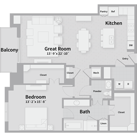 1,277 sq. ft. B2 floor plan